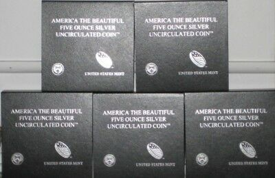 2016 US Mint America the Beautiful 5oz Silver Quarter Coin Set (5 Coins)