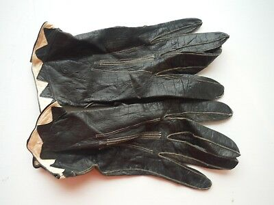 Vintage 40's black leather gloves with white harlequin triangle, delicate, small