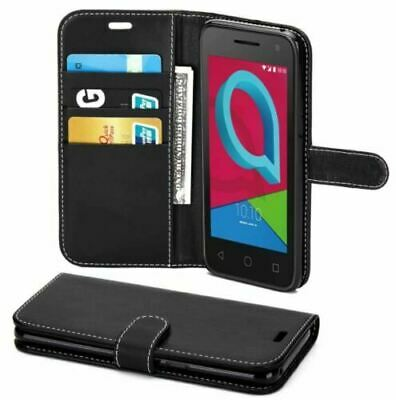 For Alcatel 1 5033X Book Genuine Luxury Flip PU Leather Wallet Phone Case Cover