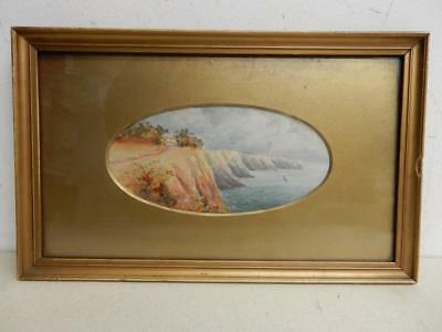 REALLY old PAINTING water colour SEA cliffs coastal