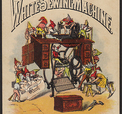 Antique White Sewing Machine Gnome Elf Workshop Victorian Advertising Trade Card