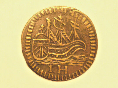 France  jeton 17th-18th century copper - sailing ship   - outstainding!   #105