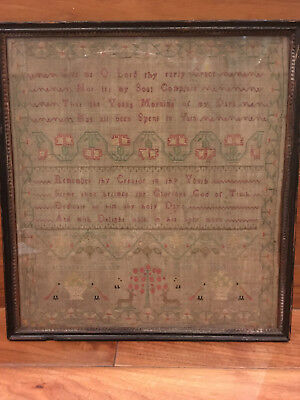 Georgian antique embroidery sampler by Elizabeth Durant aged 10, dated 1783