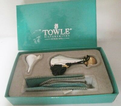 Vintage Art Deco Towle Sterling Silver Perfume Bottle w/Silk Tassel, Pouch, Box,