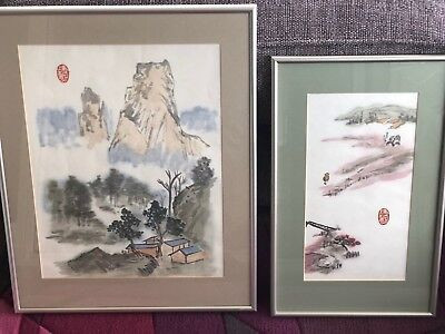 Pair of ORIGINAL Chinese Style Watercolour LANDSCAPE & MOUNTAIN Paintings Framed