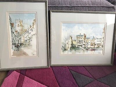Pair of ORIGINAL Watercolour Paintings of YORK Signed F Stannard ? '95 Framed
