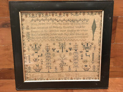 Early Victorian era antique embroidery sampler by Mary Ann Booker, dated 1832.