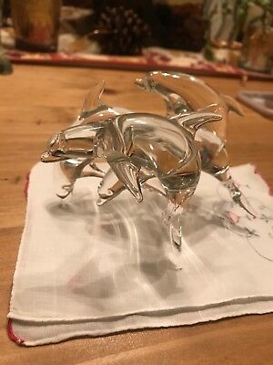 Pod of 4 Glass Dolphins Swimming Clear Glass Amazing Condition