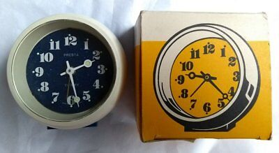Boxed Vintage Presta Twinkey Blue + White Alarm Clock Made in Germany Space Age