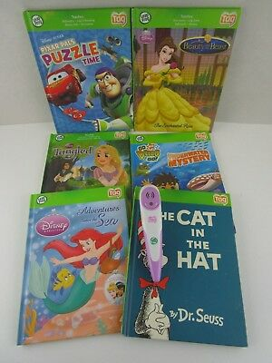6 Leap Frog Tag Books with Pen  Tangled Beauty Beast Little Mermaid Diego & more