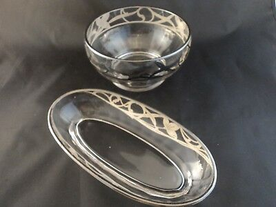 Antique Vintage Silver Overlay Round And Oval Glass Dish Bowl Art Noveau