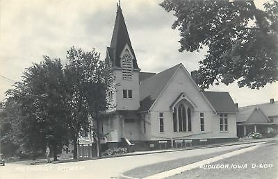 Audubon Iowa~Man Stands on Corner By Methodist Church~RPPC 1940s