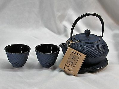 Vintage Rikyu Tetsubin Blue Cast Iron Tea Kettle with 2 Cups and Trivet