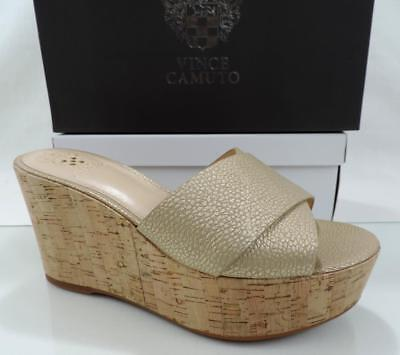 1255a4fc243b Women s Vince Camuto KESSINA Platform Wedge Mule Sandals Metal Gold Size 8.5