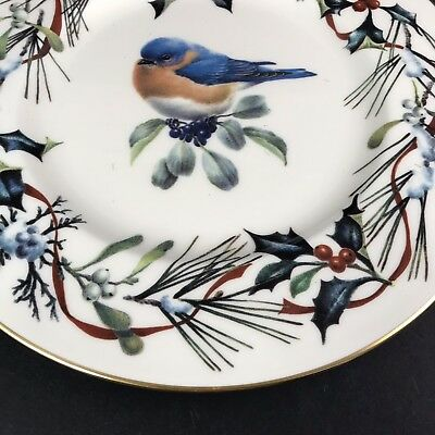"""Lenox Winter Greetings China 9"""" Accent Plate Eastern Bluebird Christmas"""