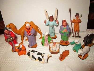 Vintage Cast and Painted Metal Manger Set, 15 Pieces - Maker ??