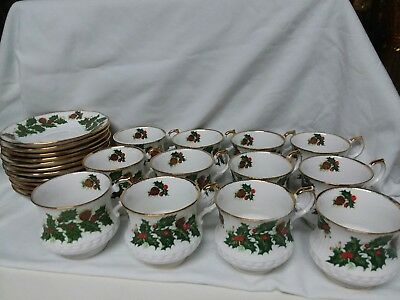 Vintage Rosina Yuletide China Cup And Saucers Set of 12