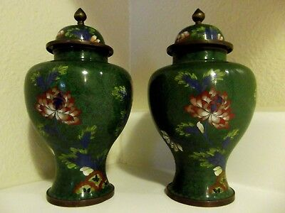 Early 20th c Cloisonne Enamel Copper/Bronze Pair of Covered Vases