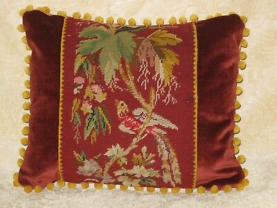 Charming Antique Hand Stitched Needlepoint Bird Lumbar Pillow Woolwork Sampler