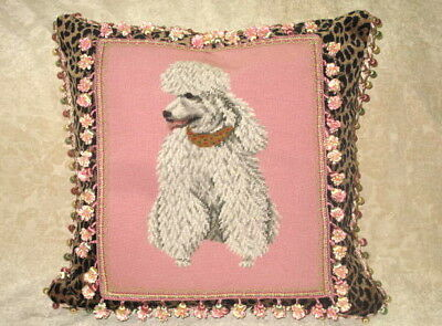 Glamorous Pink Poodle Needlepoint Tapestry Pillow ~ On Leopard Velvet
