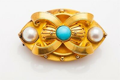 Antique Etruscan 1880s Turquoise Pearl 18k Yellow Gold EYE Locket Brooch Pin 18g