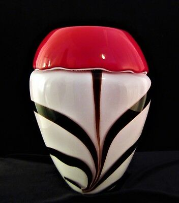 Makora Art Glass Studio Hand Blown Zebra Stripe White & Red Cased Vase