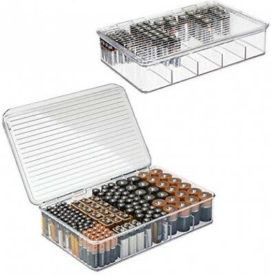Battery Storage Organizer Large Divided Box Stackable 5 Compartments 2-Pack