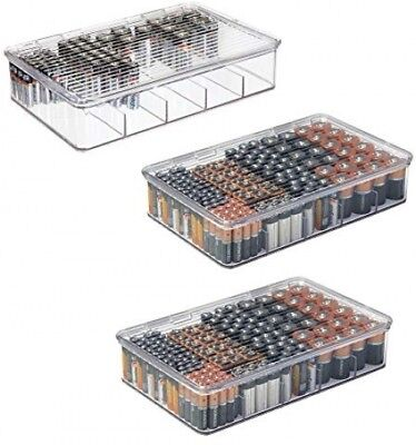 Battery Storage Organizer Large Divided Box Stackable 5 Compartments 3-Pack