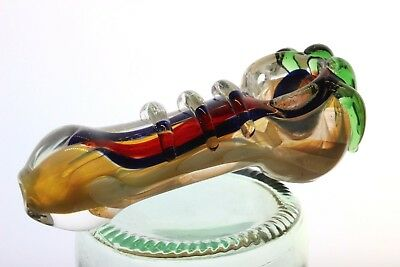 "Collectible Twist TOBACCO Smoking Pipe Herb bowl 3"" Glass Hand Pipes Xmas"