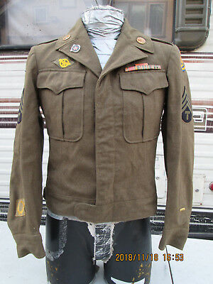 Vintage Eisenhower WW2 OG Wool Jacket with Patches and Pin 36R