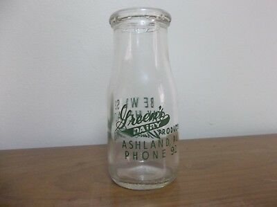 Vintage Green's Dairy Products Ashland PA Half Pint Pyro Milk Bottle