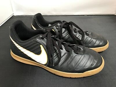 b716a84219b NIKE TIEMPOX RIO IV IC Indoor Gum Soles SOCCER CLEATS SHOES 4Y BLACK WHITE