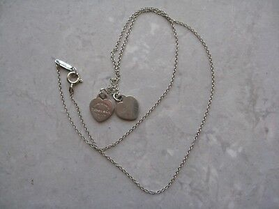 Authentic TIFFANY & CO Sterling Silver Double HEART PLEASE RETURN Necklace