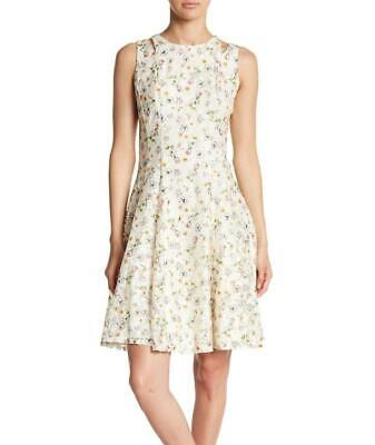 Gabby Skye 12 Ivory Floral Lace Fit Flare Dress Nwt 98