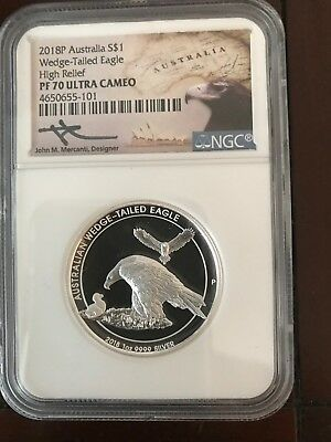 2018  Silver Australian Wedge Tailed Eagle PF70 Ultra Cameo High Relief Mercanti
