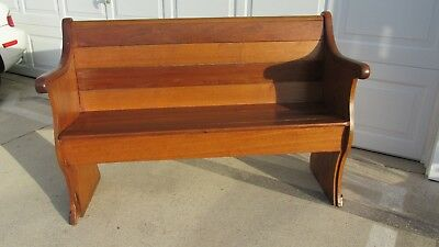 """Antique Church Pew Walnut/Ash Wood Old Straight Bench Seat 51"""" Long"""