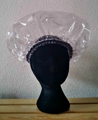 Handmade Unisex Clear Shower Cap with Black Trim