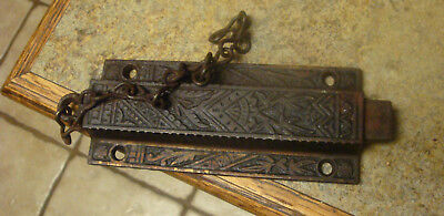Antique Ornate Cast Iron  Spring Loaded Door Safety Latch w/Chain