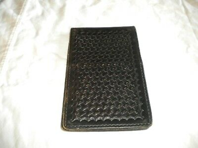"Tex Shoemaker Note Book Holder Basketweave Leather 6"" x 9 1/4"" Fire EMS Police"