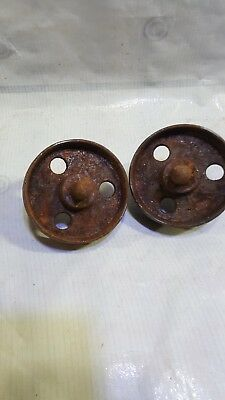 Matching pair ANTIQUE VINTAGE INDUSTRIAL FACTORY CART CASTER CAST IRON WHEELS