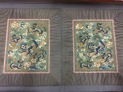 Antique Chinese embroidered silk panels, Foo dogs & peonies - Forbidden Stitch