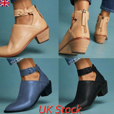 UK Women Ladies Ankle Boots Low Block Heel Zip Up Buckle Retro Casual Shoes Size