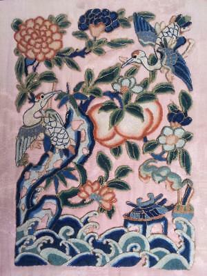 Antique Chinese embroidered silk panel, Cranes and peach -Forbidden Stitch