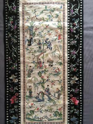 Antique Chinese robe's silk embroidered sleeve bands made into a panel #1