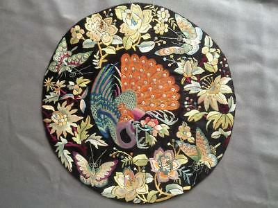Antique Chinese embroidered silk rank badge or roundel from a robe, Peacock