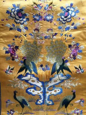 Antique Chinese robe's silk embroidered sleeve bands made into a panel #4