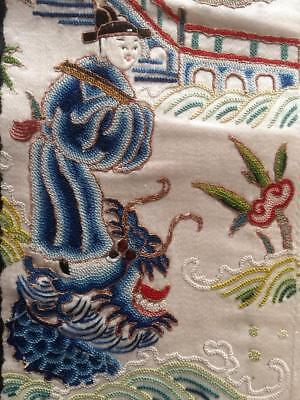 Antique Chinese robe's silk embroidered sleeve bands made into a panel #2 乘龍快婿