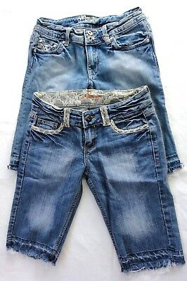 """Lot of 2 Pairs Woman's Blue Denim Shorts Miss Me & Lucy Size 27 Waist 27"""""""