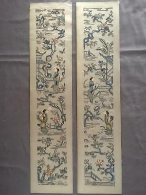 Antique Chinese robe's silk embroidered sleeve bands, Beauty & garden scene #3