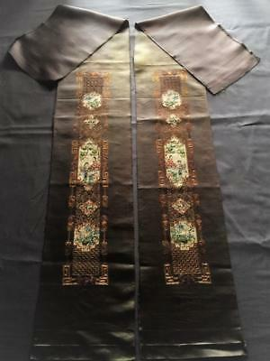 Antique Chinese robe's silk embroidered sleeve bands, Beauty & garden scene #5